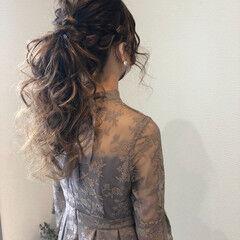 ヘアセット 結婚式 ポニーテール フェミニン ヘアスタイルや髪型の写真・画像