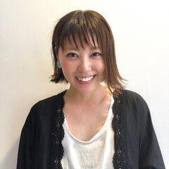 大人女子 ボブ 外ハネボブ ショートバング ヘアスタイルや髪型の写真・画像