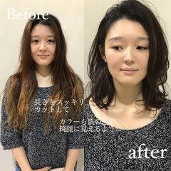 ウルフレイヤー インナーカラー セミロング ハイライト ヘアスタイルや髪型の写真・画像