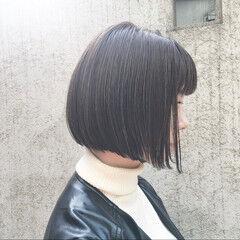 ミニボブ 切りっぱなしボブ ボブ シースルーバング ヘアスタイルや髪型の写真・画像