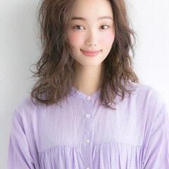 大人女子 無造作 大人可愛い ミディアム ヘアスタイルや髪型の写真・画像