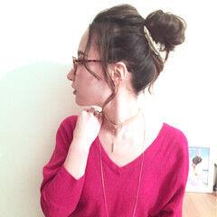 ラフ セミロング ヘアアレンジ お団子 ヘアスタイルや髪型の写真・画像