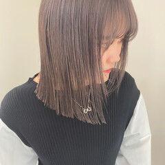 モード ハイトーンカラー ピンクベージュ ミディアム ヘアスタイルや髪型の写真・画像