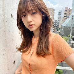 ナチュラル セミロング レイヤーロングヘア 韓国ヘア ヘアスタイルや髪型の写真・画像