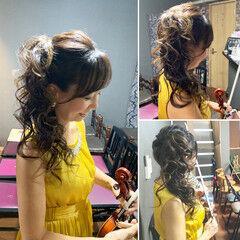 巻き髪 ゴージャス ヘアセット サイドアップ ヘアスタイルや髪型の写真・画像
