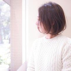 大人カジュアル シンプルボブ マット ナチュラル ヘアスタイルや髪型の写真・画像