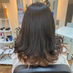 ナチュラル インナーカラーオレンジ オレンジブラウン インナーカラー ヘアスタイルや髪型の写真・画像