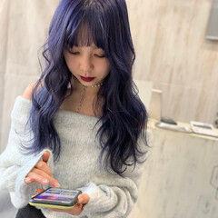 ガーリー パープルカラー パープル ロング ヘアスタイルや髪型の写真・画像