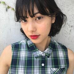 束感 女子会 ボブ リラックス ヘアスタイルや髪型の写真・画像