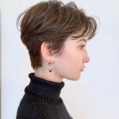 ショート 地毛風カラー ベリーショート グレージュ ヘアスタイルや髪型の写真・画像