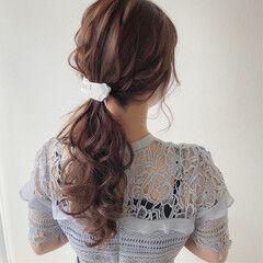 ヘアアレンジ ポニーテール ショコラブラウン ナチュラル ヘアスタイルや髪型の写真・画像