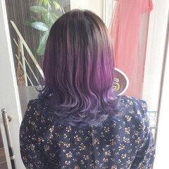 ミディアム ガーリー グラデーション ブルーグラデーション ヘアスタイルや髪型の写真・画像