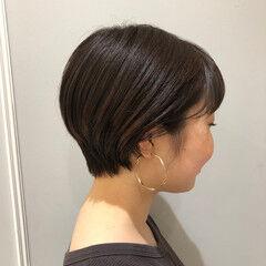 ナチュラルブラウンカラー 大人かわいい ショートボブ デジタルパーマ ヘアスタイルや髪型の写真・画像