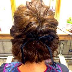 ヘアアレンジ ボブ ギブソンタック ロープ編み ヘアスタイルや髪型の写真・画像