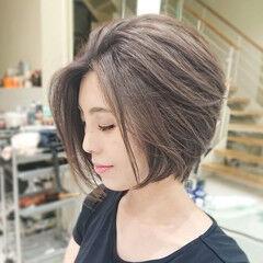 ショートボブ ショートヘア ショート ハイライト ヘアスタイルや髪型の写真・画像