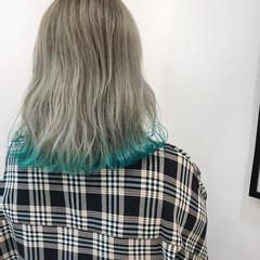 切りっぱなしボブ ガーリー デザインカラー ブリーチカラー ヘアスタイルや髪型の写真・画像