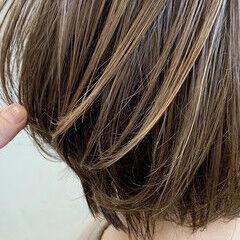 ハイライト 白髪染め ショート ショートボブ ヘアスタイルや髪型の写真・画像