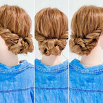 まとめ髪 ロング アップスタイル 三つ編み
