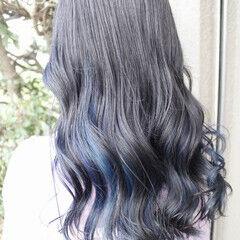 インナーカラー インナーブルー フェミニン セミロング ヘアスタイルや髪型の写真・画像