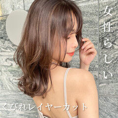 大人ミディアム セミロング 韓国ヘア ミディアムヘアー ヘアスタイルや髪型の写真・画像