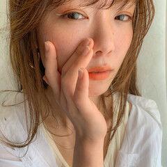 ナチュラル セミロング オレンジ コスメ・メイク ヘアスタイルや髪型の写真・画像