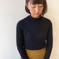 黒髪 ワイドバング 黒髪ショート シンプルボブ ヘアスタイルや髪型の写真・画像