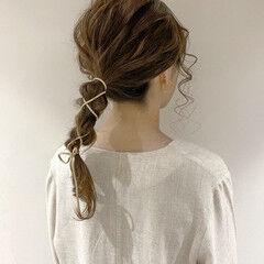 紐アレンジ 編みおろしヘア ヘアアレンジ ロング ヘアスタイルや髪型の写真・画像