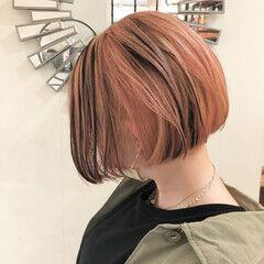 オレンジカラー ハイトーンカラー バレイヤージュ ナチュラル ヘアスタイルや髪型の写真・画像