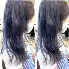 ミディアム ブルージュ ナチュラル ブルーラベンダー ヘアスタイルや髪型の写真・画像