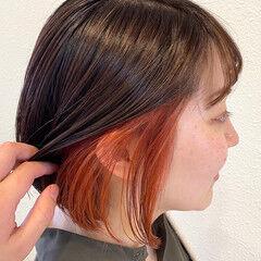 オレンジカラー ブリーチカラー ミニボブ ボブ ヘアスタイルや髪型の写真・画像