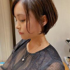 ワンカール ショートヘア ゆるふわパーマ ミニボブ ヘアスタイルや髪型の写真・画像