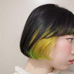 モード インナーグリーン ミニボブ 黒髪 ヘアスタイルや髪型の写真・画像