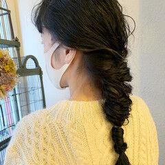 ロング パーマ 編みおろし 簡単ヘアアレンジ ヘアスタイルや髪型の写真・画像