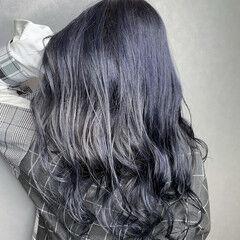 ネイビーアッシュ ネイビーブルー なんちゃって黒染め モード ヘアスタイルや髪型の写真・画像