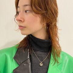 ストリート ミディアム ウルフカット 前髪なし ヘアスタイルや髪型の写真・画像