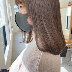 ミルクティーグレージュ ミルクティーベージュ イルミナカラー ミディアム ヘアスタイルや髪型の写真・画像