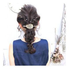 結婚式アレンジ ヘアセット セミロング パーティー ヘアスタイルや髪型の写真・画像