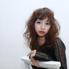 モード パーマ セミロング 冬 ヘアスタイルや髪型の写真・画像
