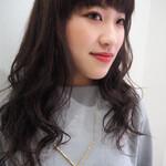 かわいい ネイビー 前髪パッツン ナチュラル