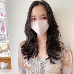 韓国ヘア フェミニン クール ロング ヘアスタイルや髪型の写真・画像
