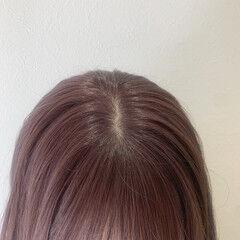 ショコラブラウン ラベンダーグレージュ セミロング ラベージュ ヘアスタイルや髪型の写真・画像