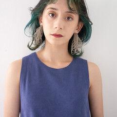 ダブルカラー インナーカラー ボブ モード ヘアスタイルや髪型の写真・画像