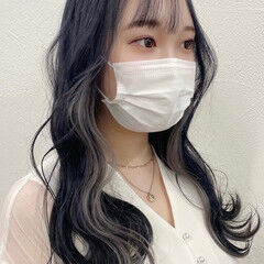 インナーカラー ガーリー 韓国ヘア ロング ヘアスタイルや髪型の写真・画像