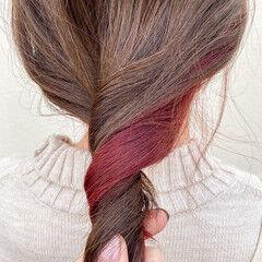 インナーカラー インナーカラー赤 ナチュラル インナーカラーレッド ヘアスタイルや髪型の写真・画像