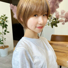 インナーカラー アンニュイほつれヘア ベリーショート ショートヘア ヘアスタイルや髪型の写真・画像