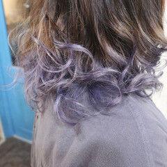 パープル ガーリー グラデーションカラー ラベンダー ヘアスタイルや髪型の写真・画像