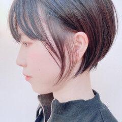小顔ショート インナーカラー ショートボブ ショート ヘアスタイルや髪型の写真・画像