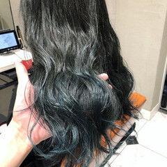 ロング ストリート ネイビーブルー ブルー ヘアスタイルや髪型の写真・画像