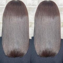 透明感カラー ロング 髪質改善トリートメント 髪質改善カラー ヘアスタイルや髪型の写真・画像