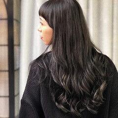 コリアンネイビー ミディアム ふわふわヘアアレンジ コリアンカラー ヘアスタイルや髪型の写真・画像